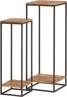 Cuba plantentafel set van 2 metaal met mango hout - Best Seller Collection